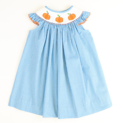 Smocked Pumpkins Bishop - Aqua Check