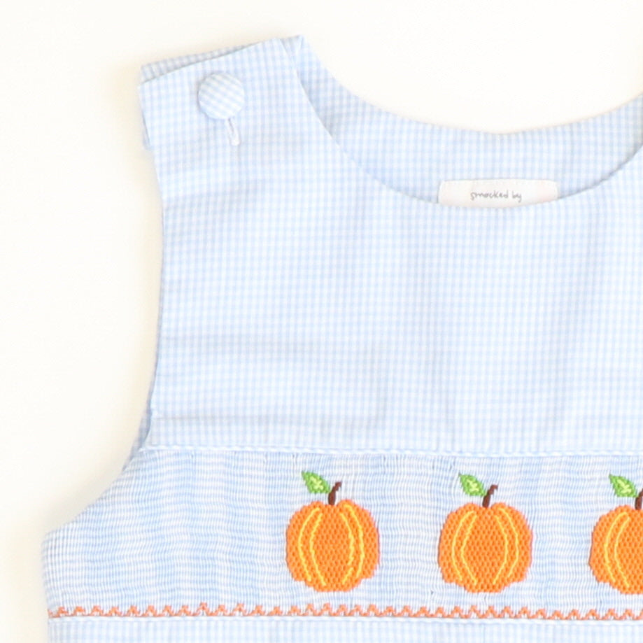 Smocked Pumpkins Shortall - Light Blue Mini Check