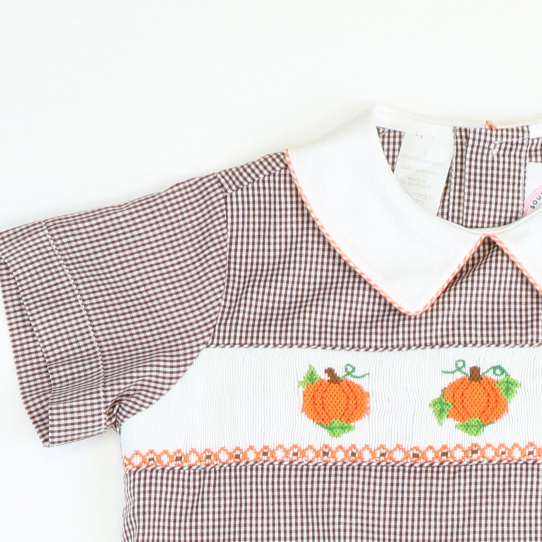 Smocked Harvest Pumpkins Collared Shirt & Pants Set - Brown Gingham