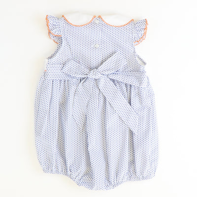 Smocked Pumpkins Collared Bubble - Navy Tiny Dot