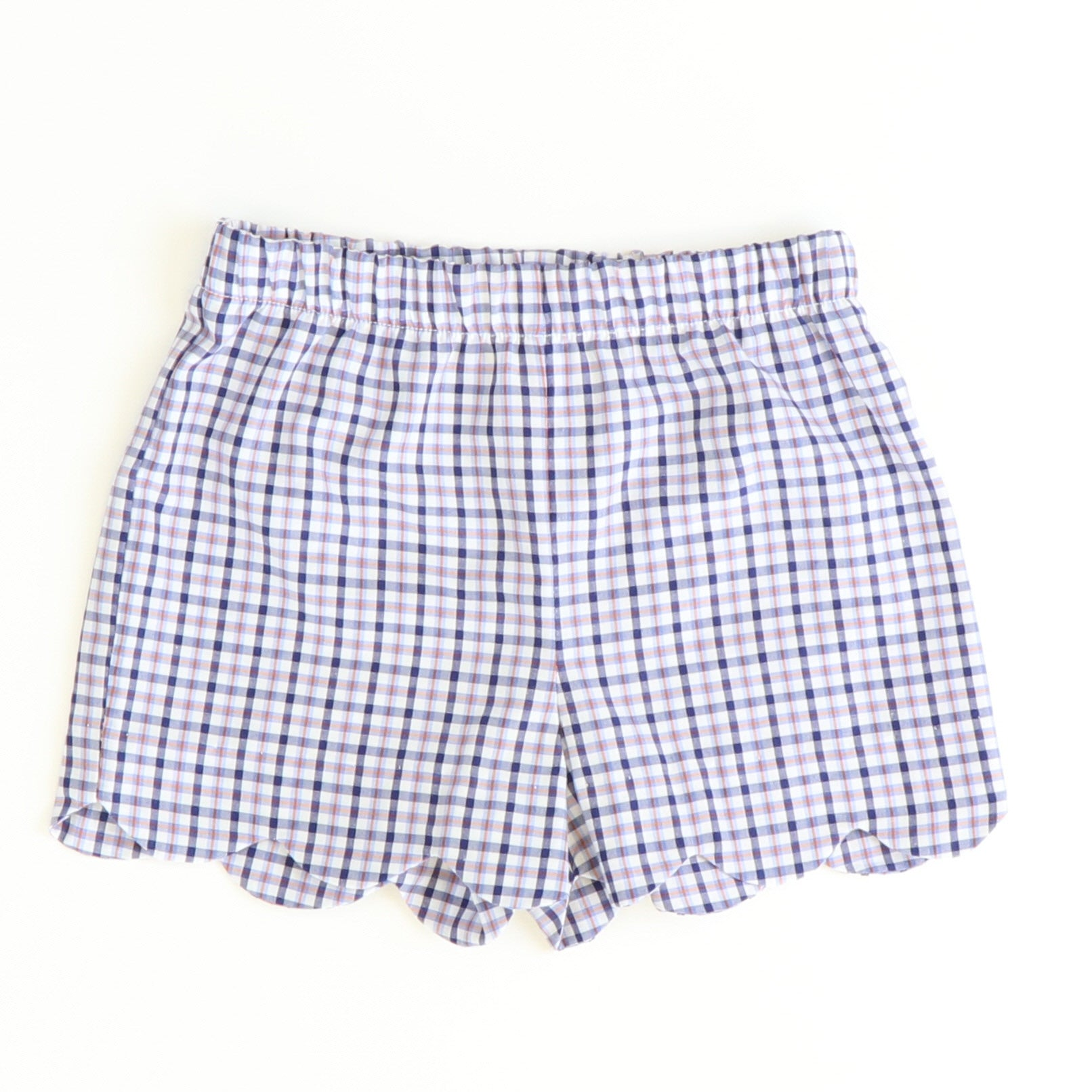 Scalloped Shorts - Blue & Orange Plaid
