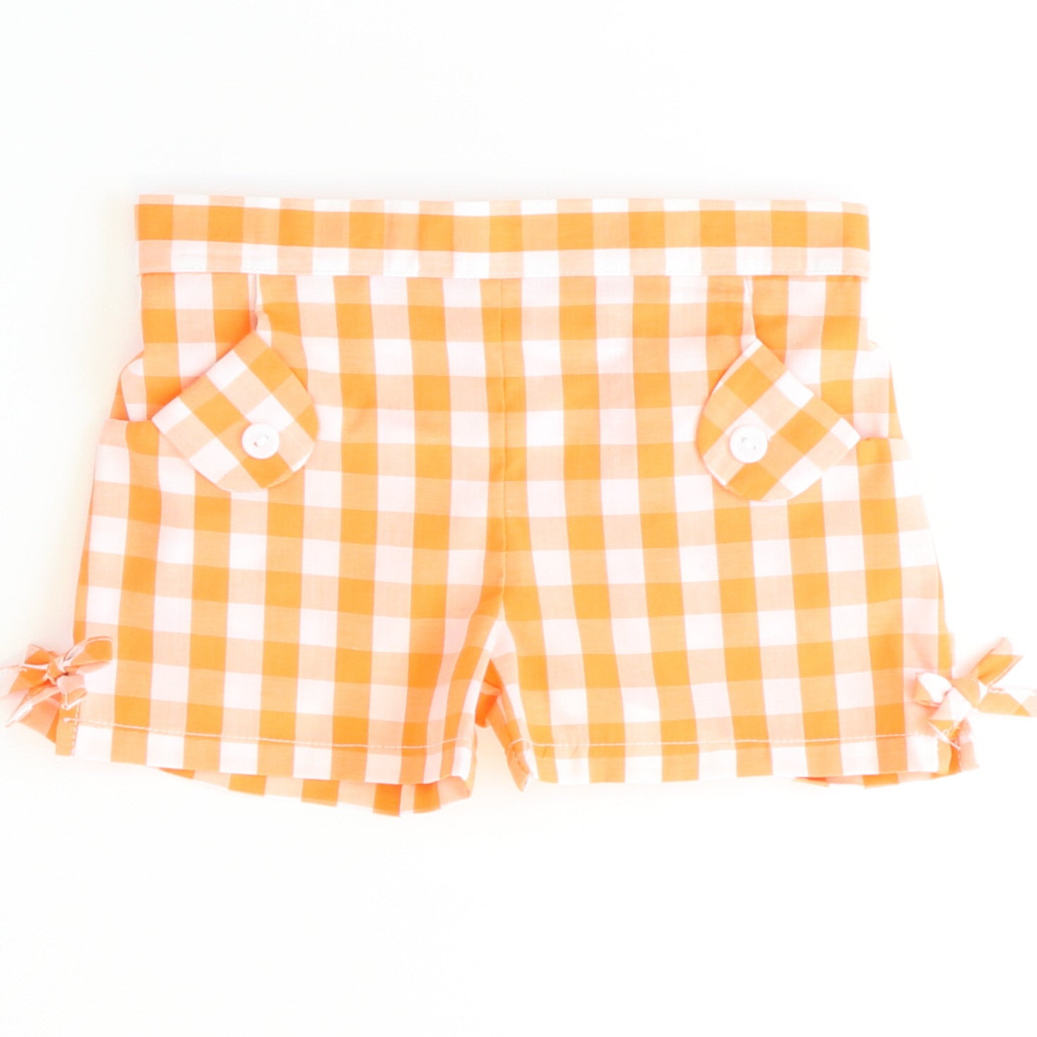 Bow Shorts - Orange Check - Stellybelly