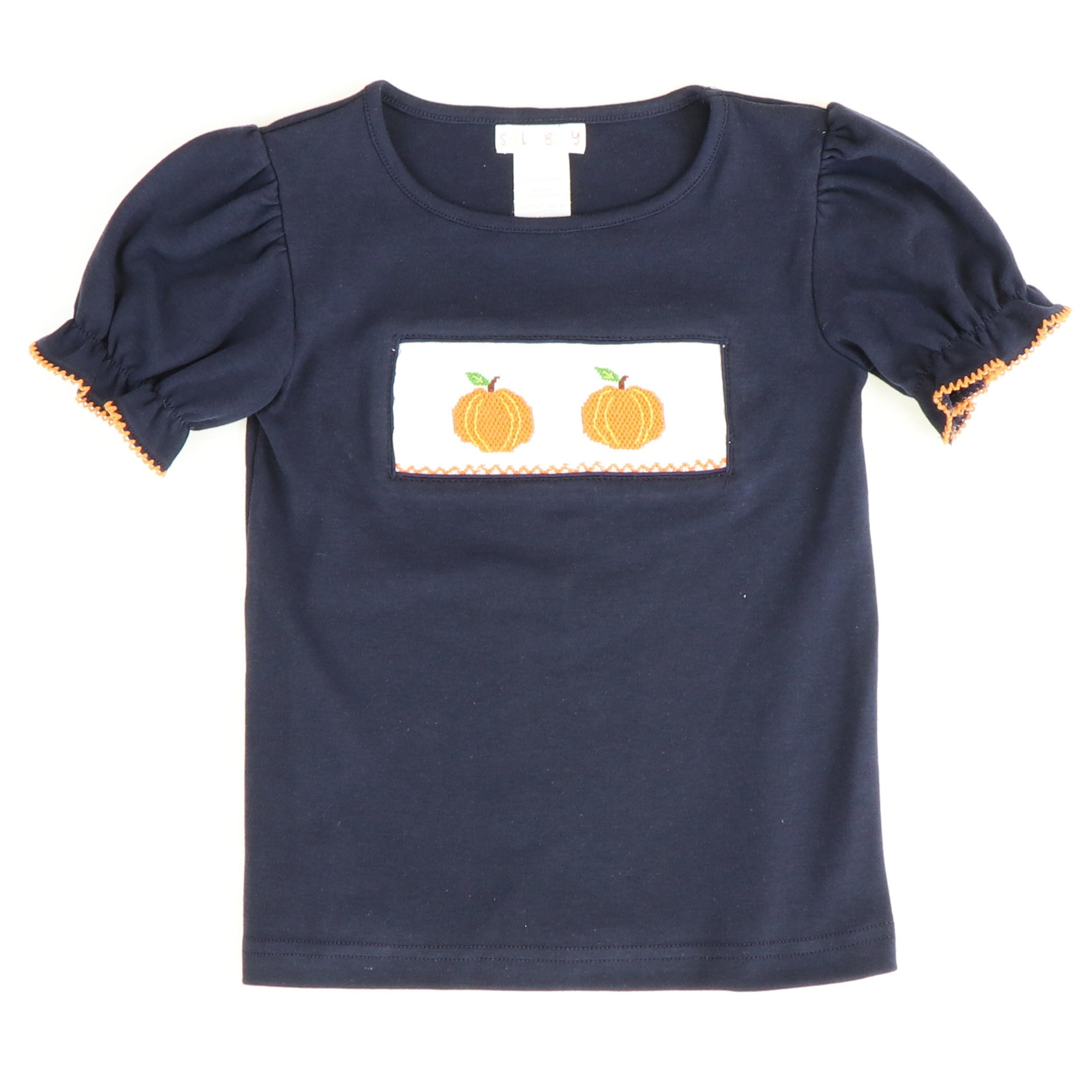 Smocked Pumpkins Ruffle Top - Navy Blue