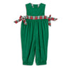 Green Cord & Red Plaid Bow Romper