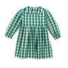 Green Plaid Tie Back LS Dress