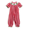 Smocked Christmas Tree Red Check Bubble
