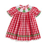 Smocked Christmas Tree Red Check Bishop