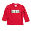 Smocked Christmas Tree Red Knit LS Shirt