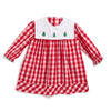 Embroidered Red Check Christmas Tree LS Dress