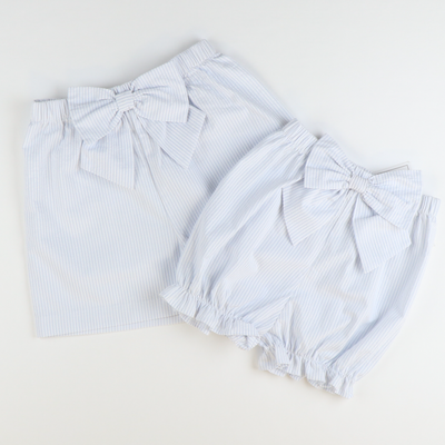 Seaside Seersucker Bow Bloomers - Light Blue Stripe Seersucker
