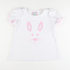Appliqué Bunny Face Girl Short Sleeve Shirt