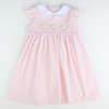 Smocked Lamb Collared Dress - Pink Stripe Seersucker