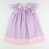 Smocked Bunnies Bishop - Purple Mini Check