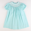 Smocked Geo Bishop - Mint Pique