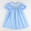 Smocked Geo Bishop - Light Blue Pique