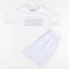 Smocked Bunny Face Shirt & Shorts Set - Light Blue Seersucker Stripe