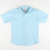 Turquoise Mini Gingham Seersucker Button Down Shirt