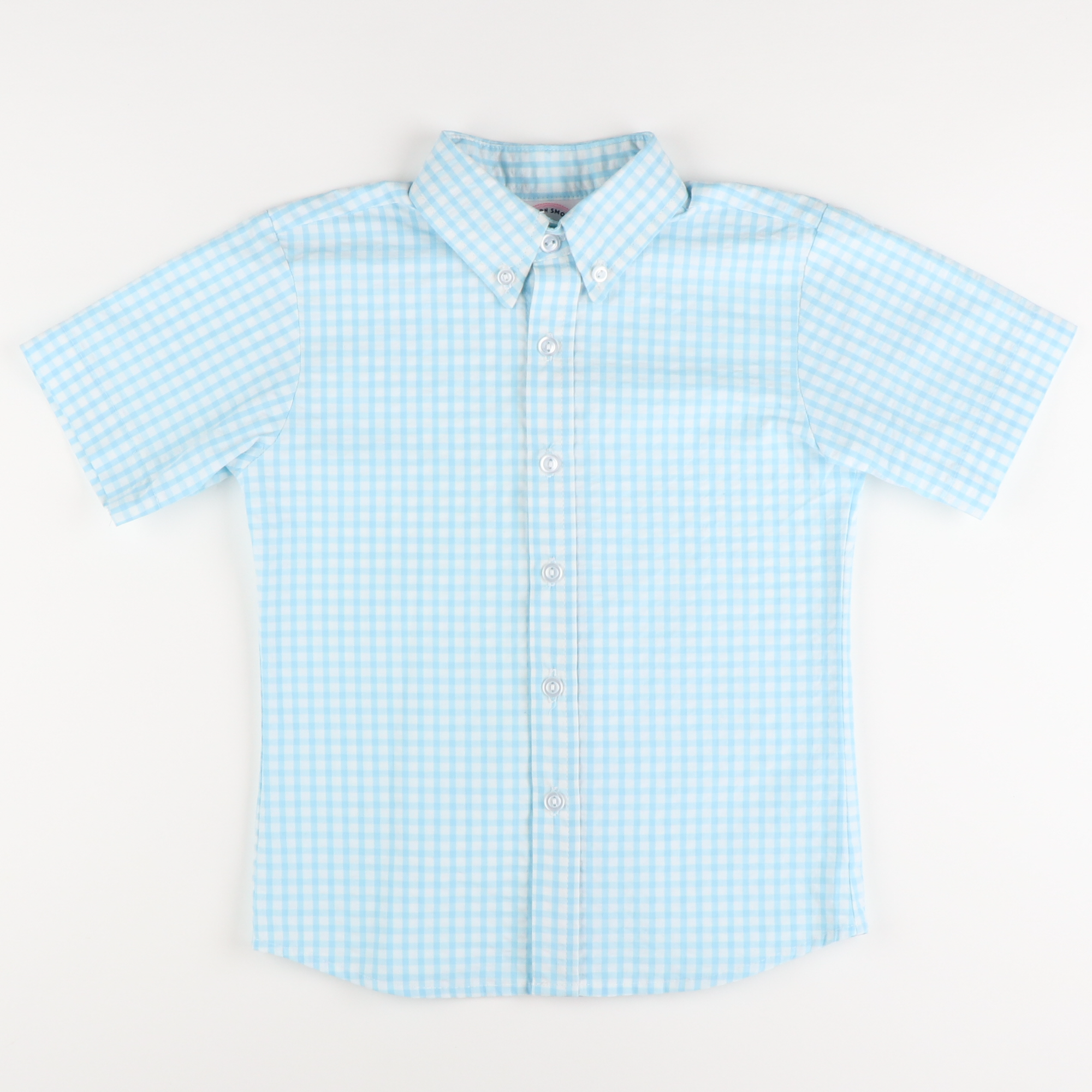 Signature S/S Button Down - Sky Check Seersucker