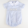 Smocked Lamb Collared Bubble - Blue Mini Gingham Seersucker