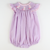 Smocked Bunnies Bubble - Purple Mini Check