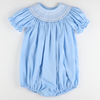 Smocked Geo Bubble - Light Blue Pique