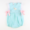 Embroidered Lamb Girl Bubble - Mint Pique
