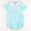 Embroidered Lamb Boy Bubble - Mint Pique