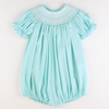Smocked Geo Bubble - Mint Pique