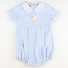 Embroidered Lamb Boy Bubble - Light Blue Seersucker Chambray