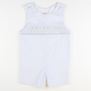 Smocked Bunny Face Shortall - Light Blue Seersucker Stripe