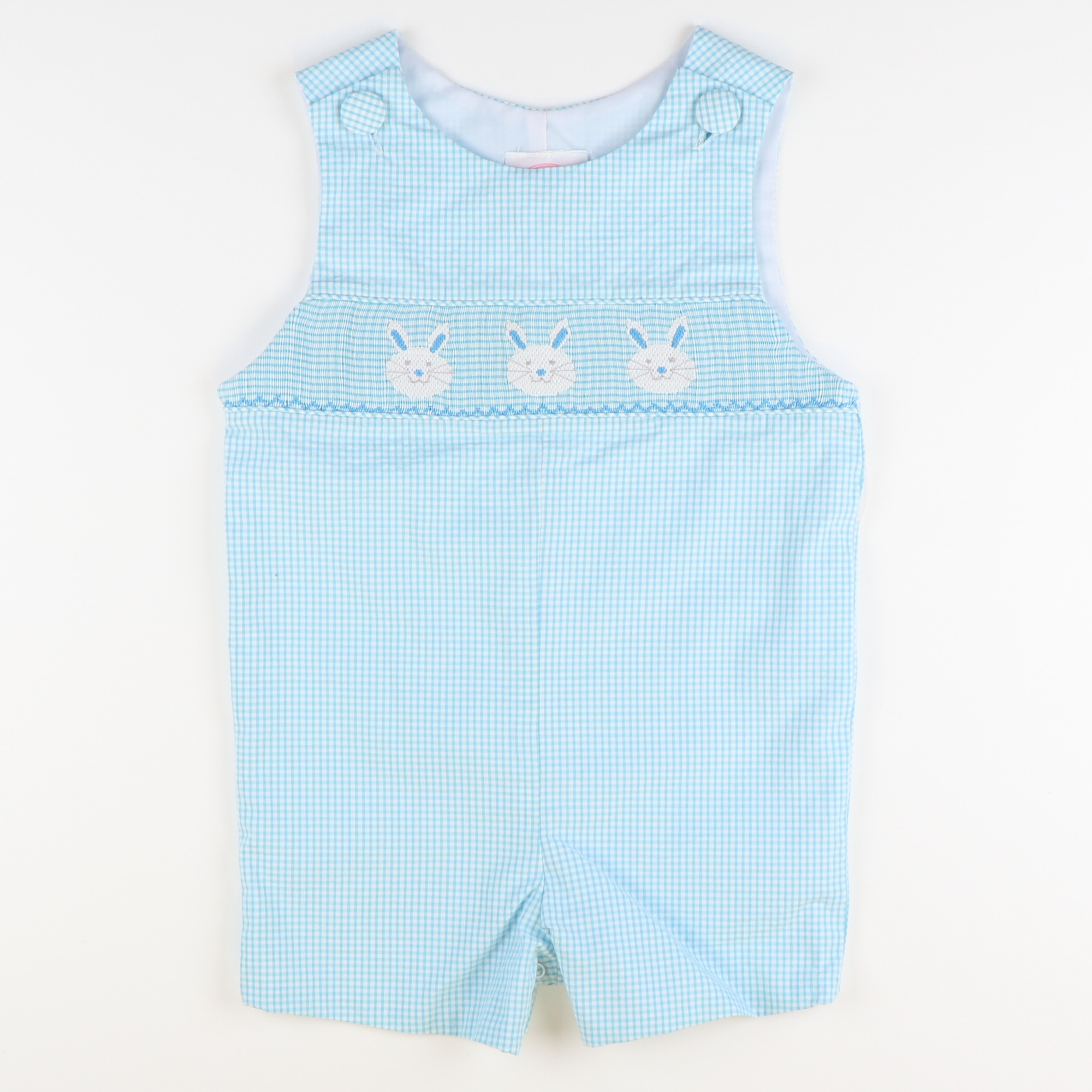 Smocked Bunny Face Shortall - Turquoise Mini Gingham Seersucker