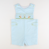Smocked Easter Bunny Shortall - Sky Check Seersucker