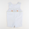 Smocked Bunny Eggs Shortall - Light Blue Stripe Seersucker