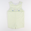 Smocked Bunny Eggs Shortall - Garden Green Stripe Seersucker