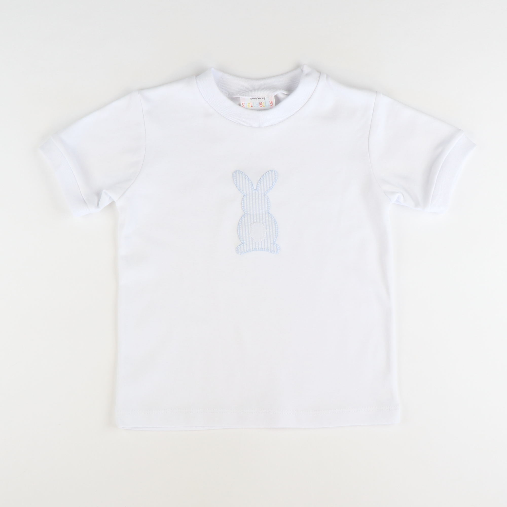 Appliqué Seersucker Bunny Short Sleeve T-Shirt