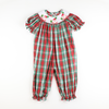 Smocked Joy Santa Plaid Long Bubble