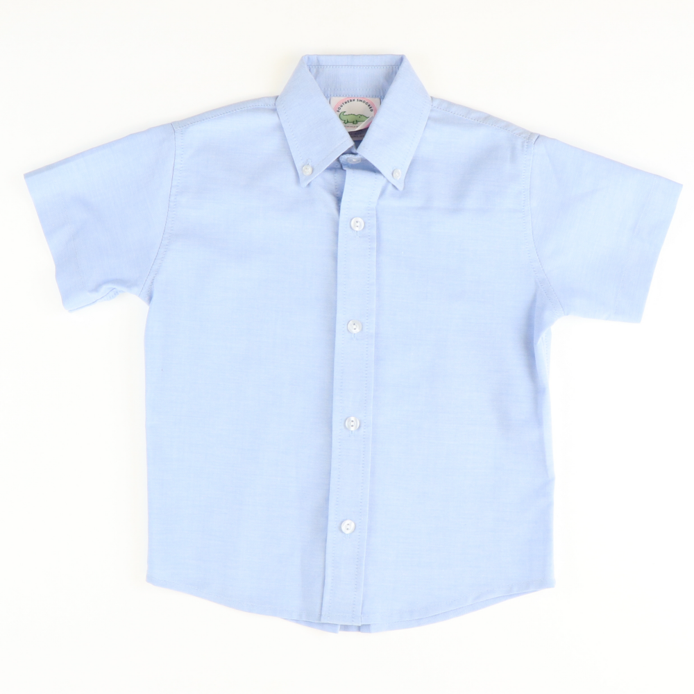 Oxford Chambray Short Sleeve Button Down Shirt