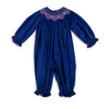 Smocked Geo Blue Cord LS Bubble
