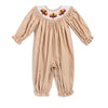 Smocked Turkey Tan Cord LS Bubble