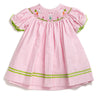 Smocked Easter Bunny Pink Gingham Bishop