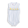 Smocked Yellow Ducklings Tie Back Bubble