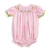 Smocked Easter Bunny Pink Gingham Bubble