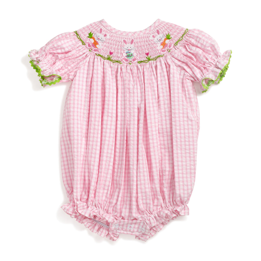 217c0f5fc47 Smocked Easter Bunny Pink Gingham Bubble