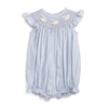 Smocked Lamb Light Blue Seersucker Bubble