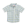 Light Blue & Green Plaid Short Sleeve Button Down Shirt