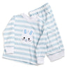 Bunny Appliqué Light Blue Stripe Lounge Wear Set