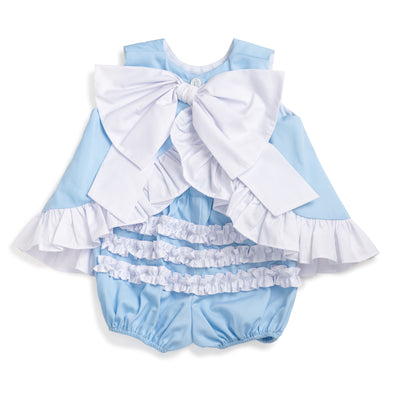 Light Blue Pique Bow Back Swing Top & Bloomer Set