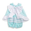 Mint Pique Bow Back Swing Top & Bloomer Set
