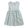 Light Blue & Green Plaid Tie Back Dress