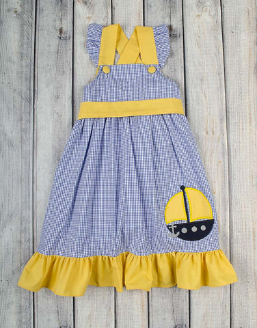 Yellow Sailboat Applique Jumper Dress - Girls - Stellybelly